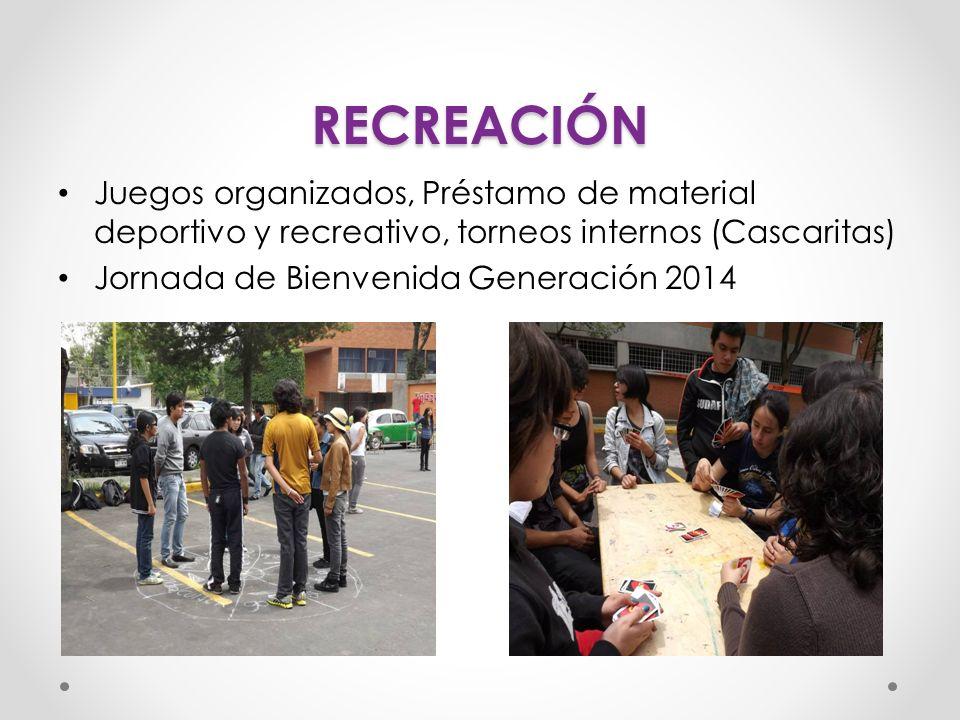 RECREACIÓN Juegos organizados, Préstamo de material deportivo y recreativo, torneos internos (Cascaritas)