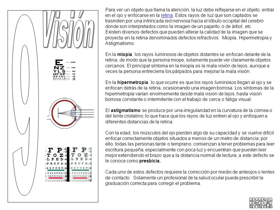 Para ver un objeto que llama la atención, la luz debe reflejarse en el objeto, entrar en el ojo y enfocarse en la retina. Estos rayos de luz que son captados se trasmiten por una intrincada red nerviosa hacia el lóbulo occipital del cerebro donde son interpretados como la imagen de un pajarito, o de árbol, etc. Existen diversos defectos que pueden alterar la calidad de la imagen que se proyecta en la retina denominados defectos refractivos: Miopía, Hipermetropía y Astigmatismo.