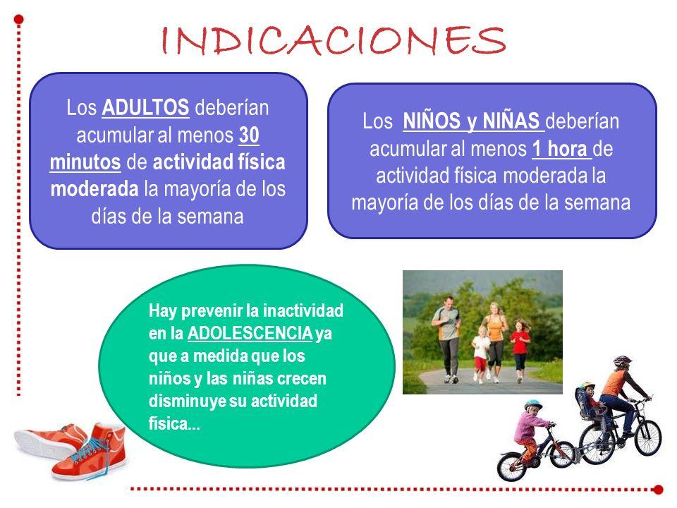 INDICACIONES Los ADULTOS deberían acumular al menos 30 minutos de actividad física moderada la mayoría de los días de la semana.
