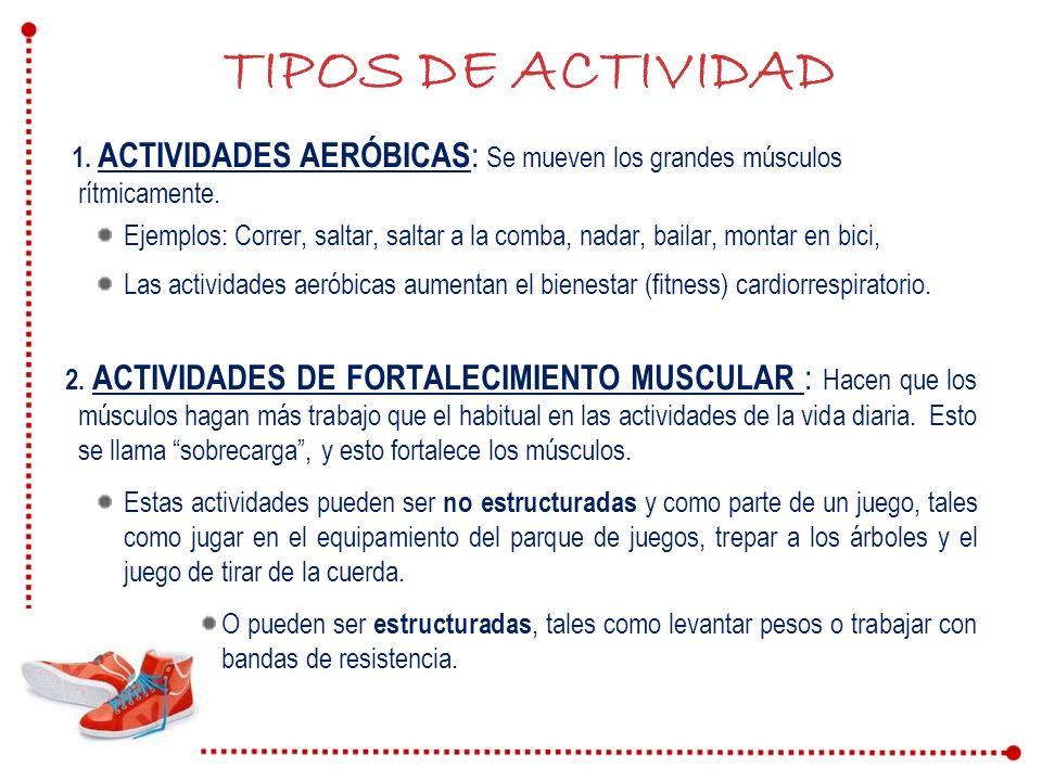 TIPOS DE ACTIVIDAD 1. ACTIVIDADES AERÓBICAS: Se mueven los grandes músculos rítmicamente.