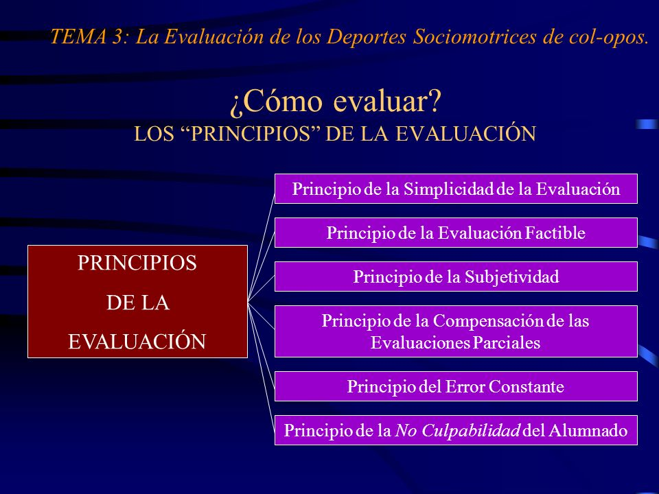 ¿Cómo evaluar LOS PRINCIPIOS DE LA EVALUACIÓN