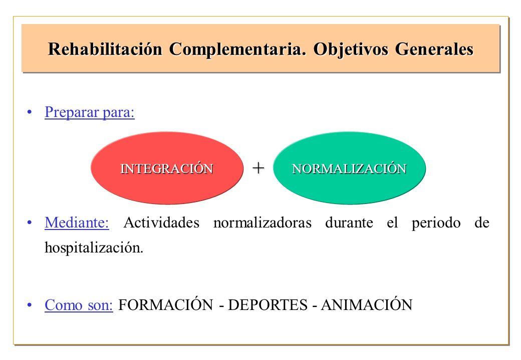 Rehabilitación Complementaria. Objetivos Generales