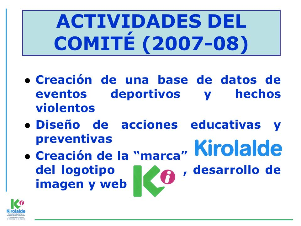 ACTIVIDADES DEL COMITÉ (2007-08)