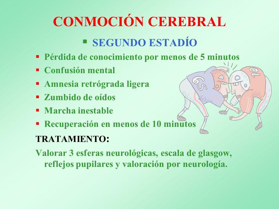 CONMOCIÓN CEREBRAL SEGUNDO ESTADÍO