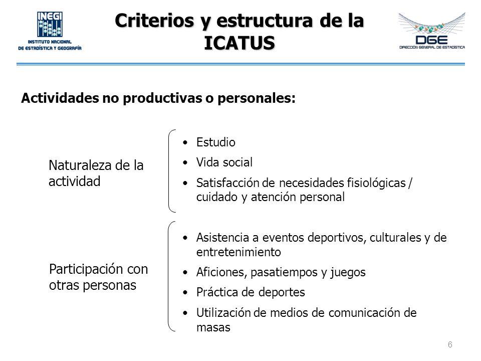 Criterios y estructura de la ICATUS