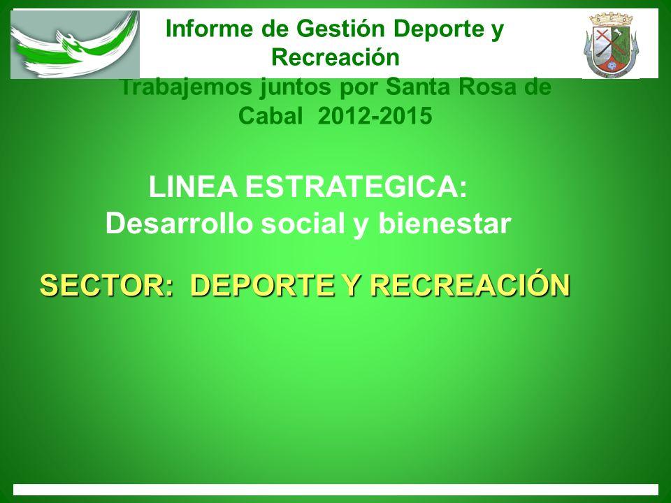 Desarrollo social y bienestar SECTOR: DEPORTE Y RECREACIÓN
