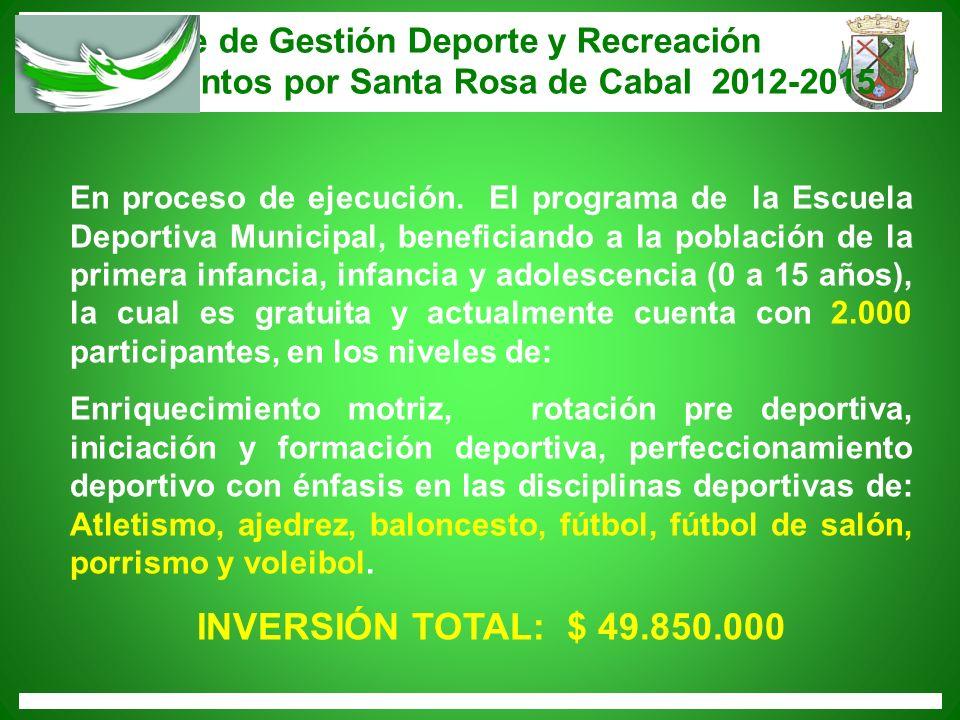 INVERSIÓN TOTAL: $ 49.850.000 Informe de Gestión Deporte y Recreación