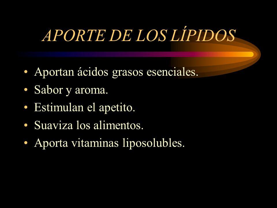 APORTE DE LOS LÍPIDOS Aportan ácidos grasos esenciales. Sabor y aroma.