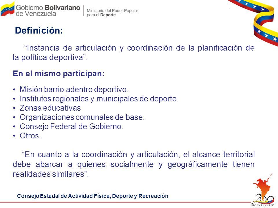 Definición: Instancia de articulación y coordinación de la planificación de la política deportiva .