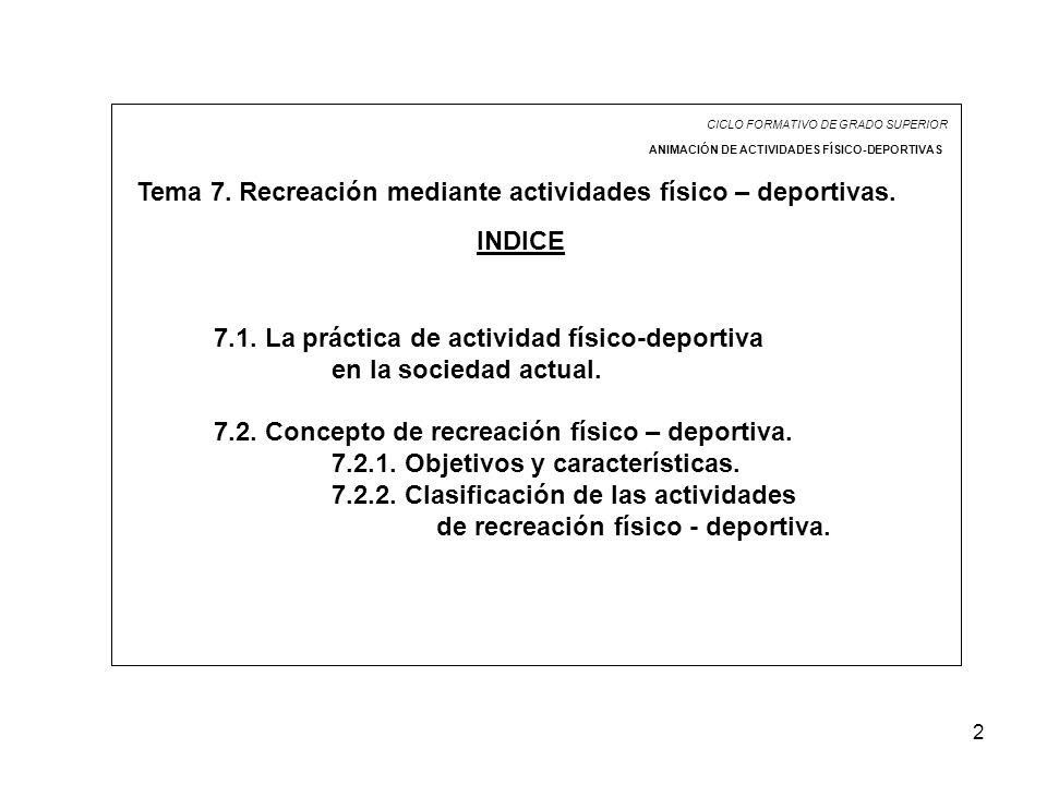 Tema 7. Recreación mediante actividades físico – deportivas.
