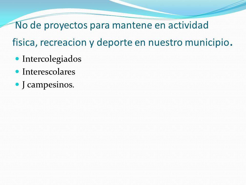 No de proyectos para mantene en actividad fisica, recreacion y deporte en nuestro municipio.