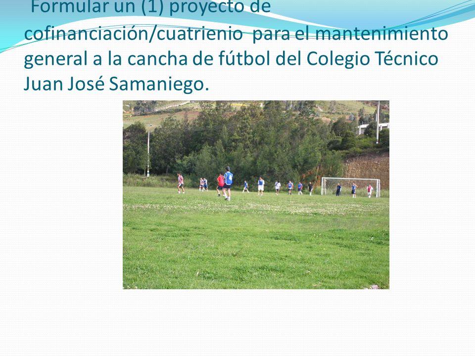 Formular un (1) proyecto de cofinanciación/cuatrienio para el mantenimiento general a la cancha de fútbol del Colegio Técnico Juan José Samaniego.