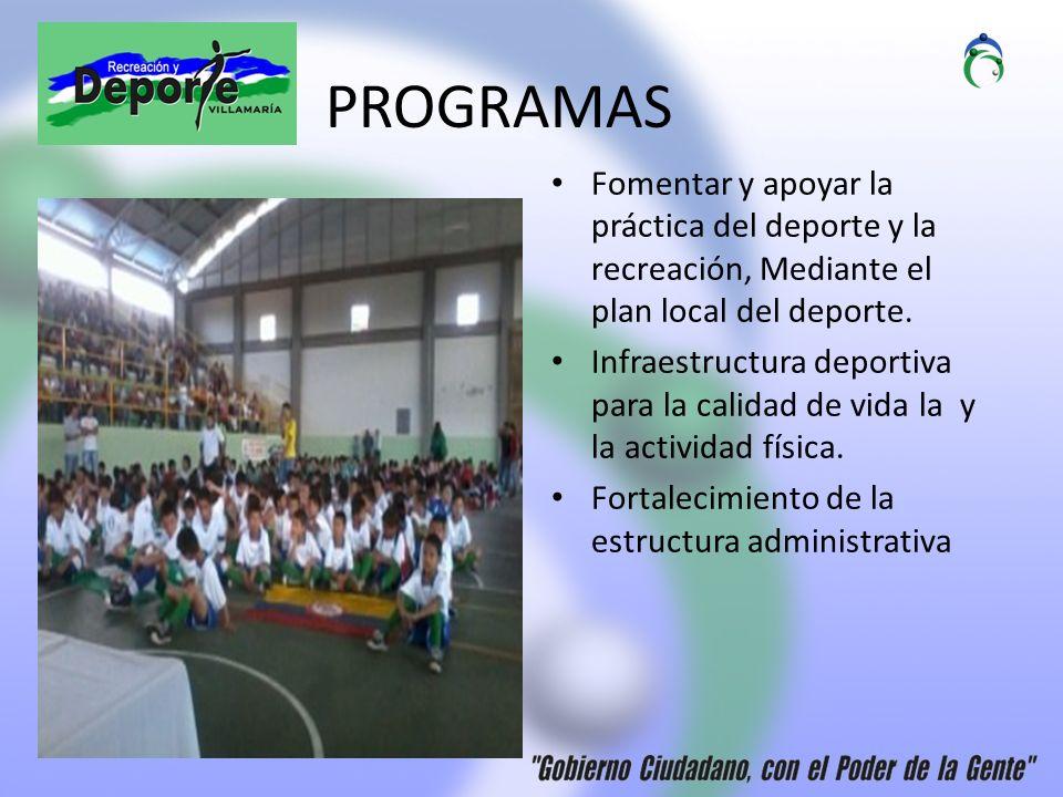 PROGRAMAS Fomentar y apoyar la práctica del deporte y la recreación, Mediante el plan local del deporte.