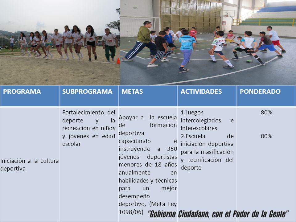 PROGRAMA SUBPROGRAMA METAS ACTIVIDADES PONDERADO