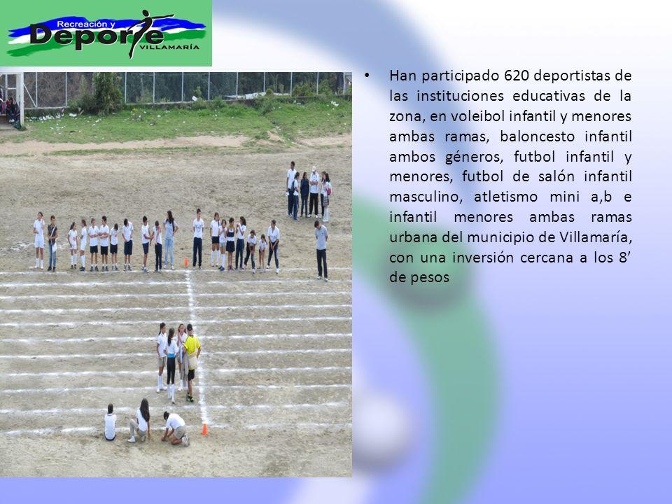 Han participado 620 deportistas de las instituciones educativas de la zona, en voleibol infantil y menores ambas ramas, baloncesto infantil ambos géneros, futbol infantil y menores, futbol de salón infantil masculino, atletismo mini a,b e infantil menores ambas ramas urbana del municipio de Villamaría, con una inversión cercana a los 8' de pesos