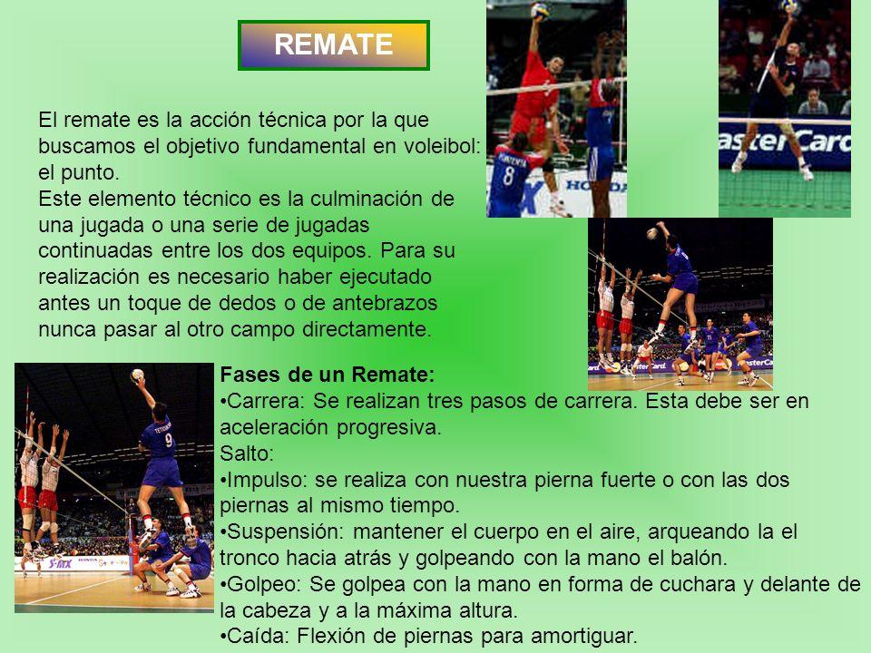 REMATE El remate es la acción técnica por la que buscamos el objetivo fundamental en voleibol: el punto.