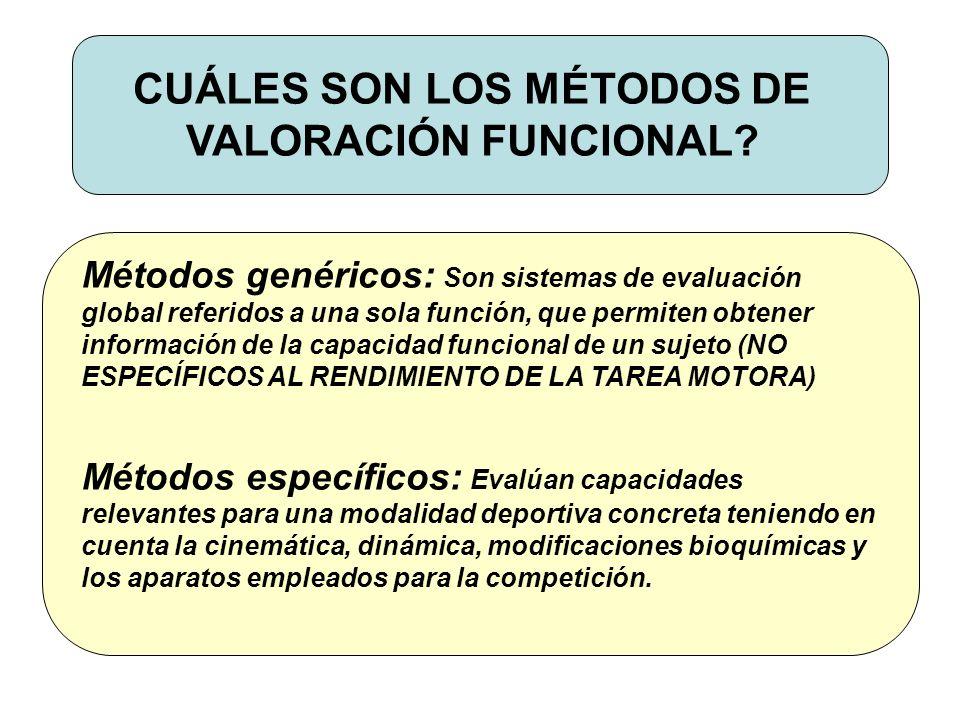 CUÁLES SON LOS MÉTODOS DE VALORACIÓN FUNCIONAL