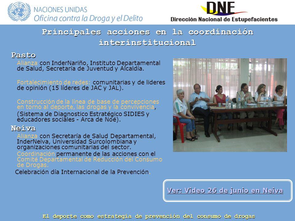 Principales acciones en la coordinación interinstitucional