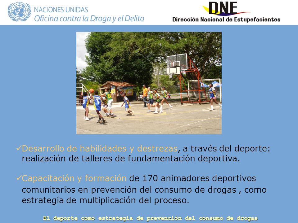 Desarrollo de habilidades y destrezas, a través del deporte: realización de talleres de fundamentación deportiva.
