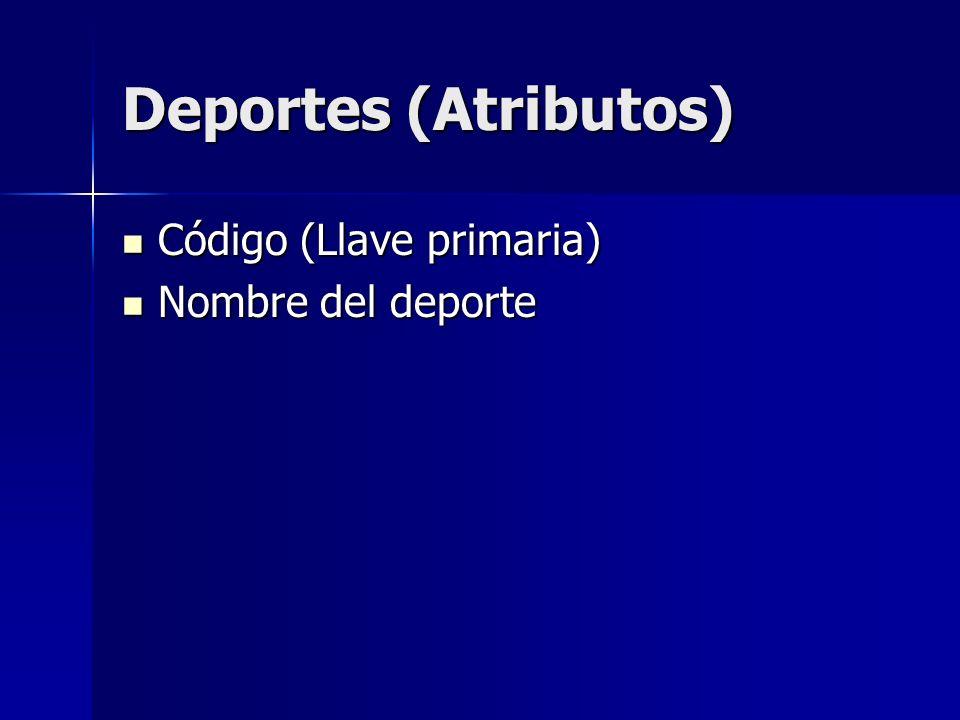 Deportes (Atributos) Código (Llave primaria) Nombre del deporte