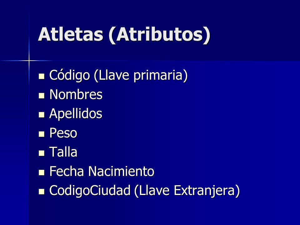 Atletas (Atributos) Código (Llave primaria) Nombres Apellidos Peso