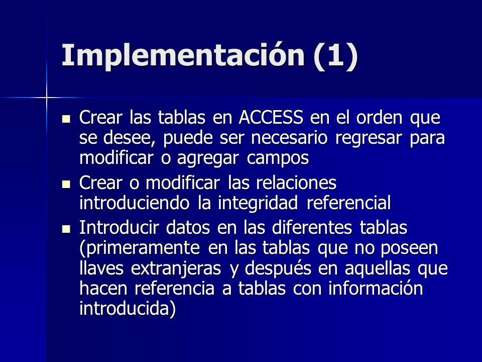 Implementación (1) Crear las tablas en ACCESS en el orden que se desee, puede ser necesario regresar para modificar o agregar campos.