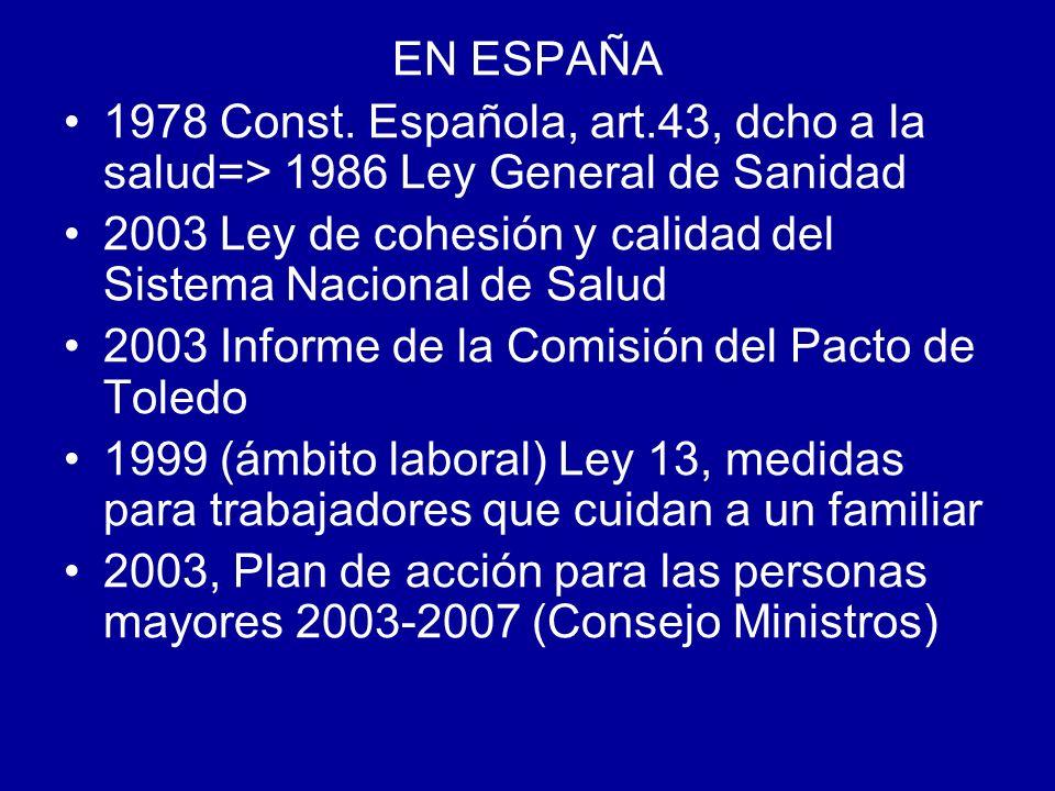 EN ESPAÑA 1978 Const. Española, art.43, dcho a la salud=> 1986 Ley General de Sanidad. 2003 Ley de cohesión y calidad del Sistema Nacional de Salud.