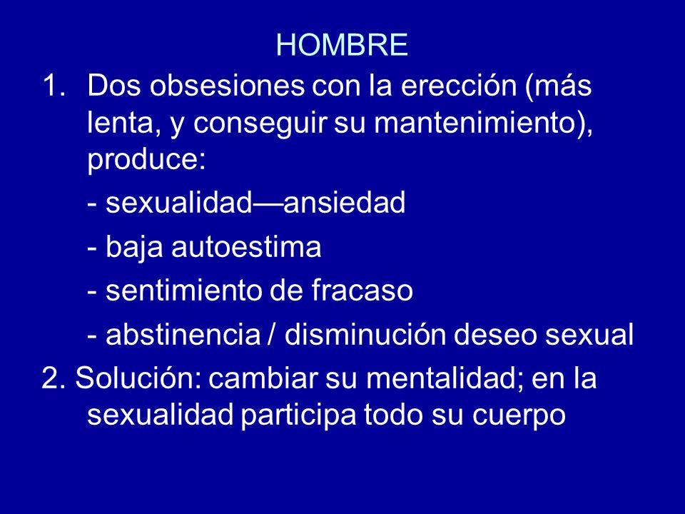HOMBRE Dos obsesiones con la erección (más lenta, y conseguir su mantenimiento), produce: - sexualidad—ansiedad.