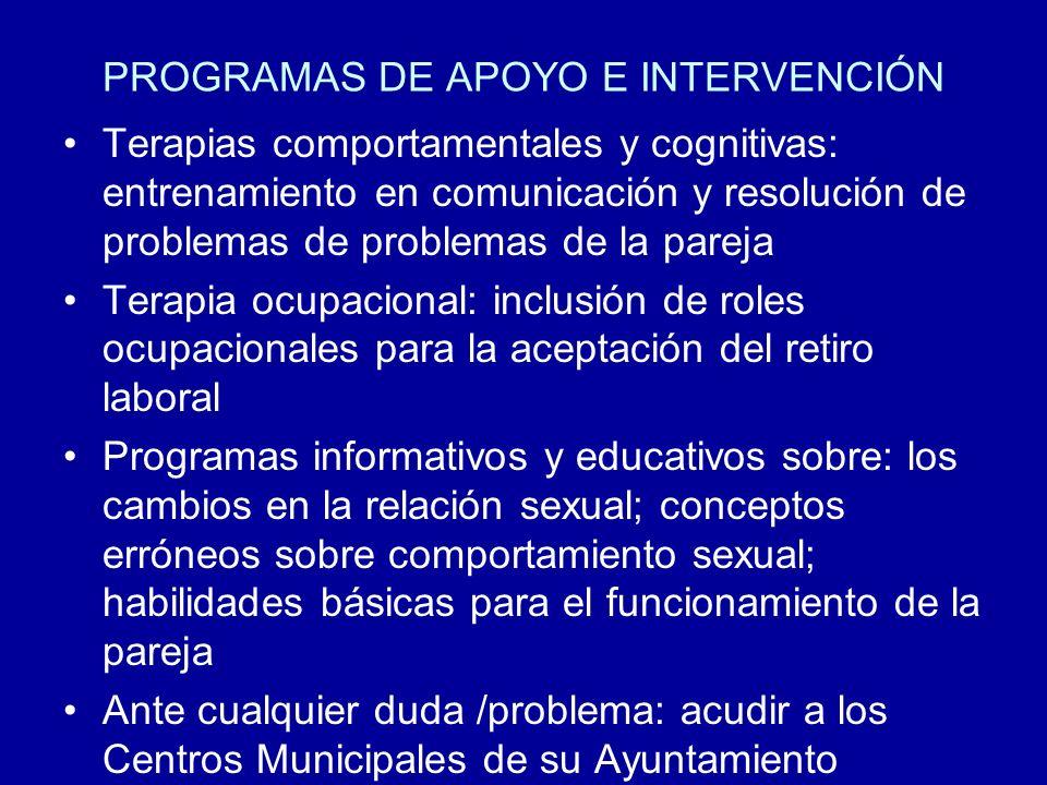 PROGRAMAS DE APOYO E INTERVENCIÓN