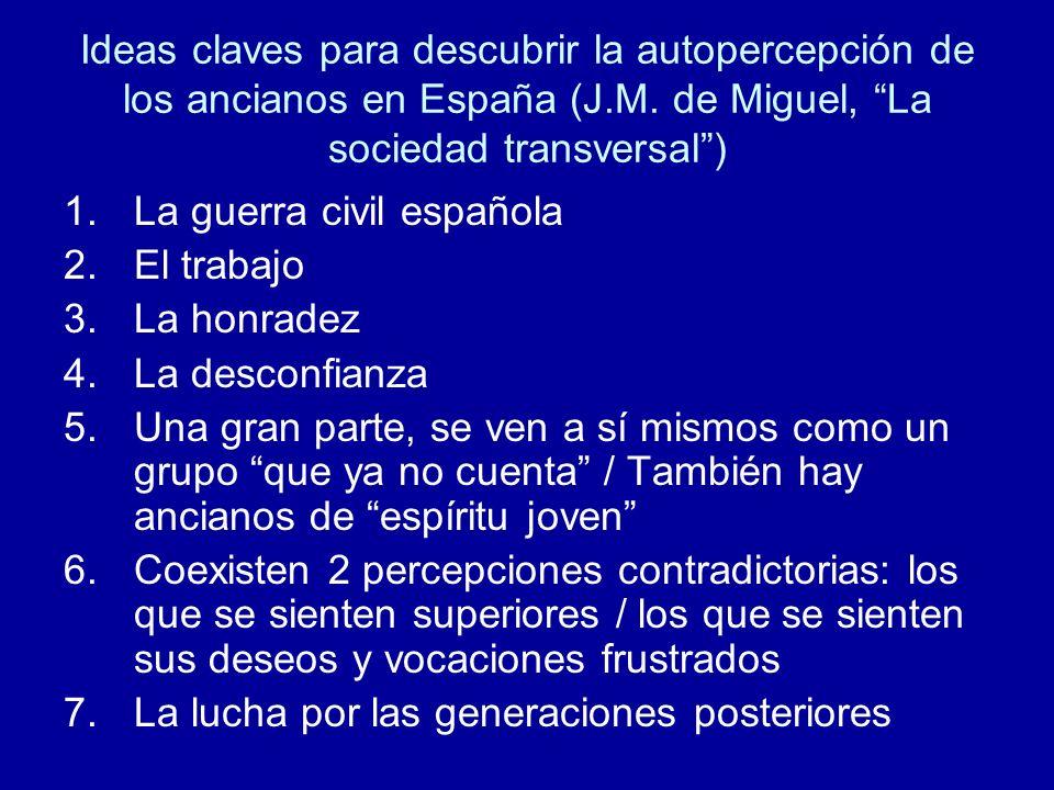 Ideas claves para descubrir la autopercepción de los ancianos en España (J.M. de Miguel, La sociedad transversal )