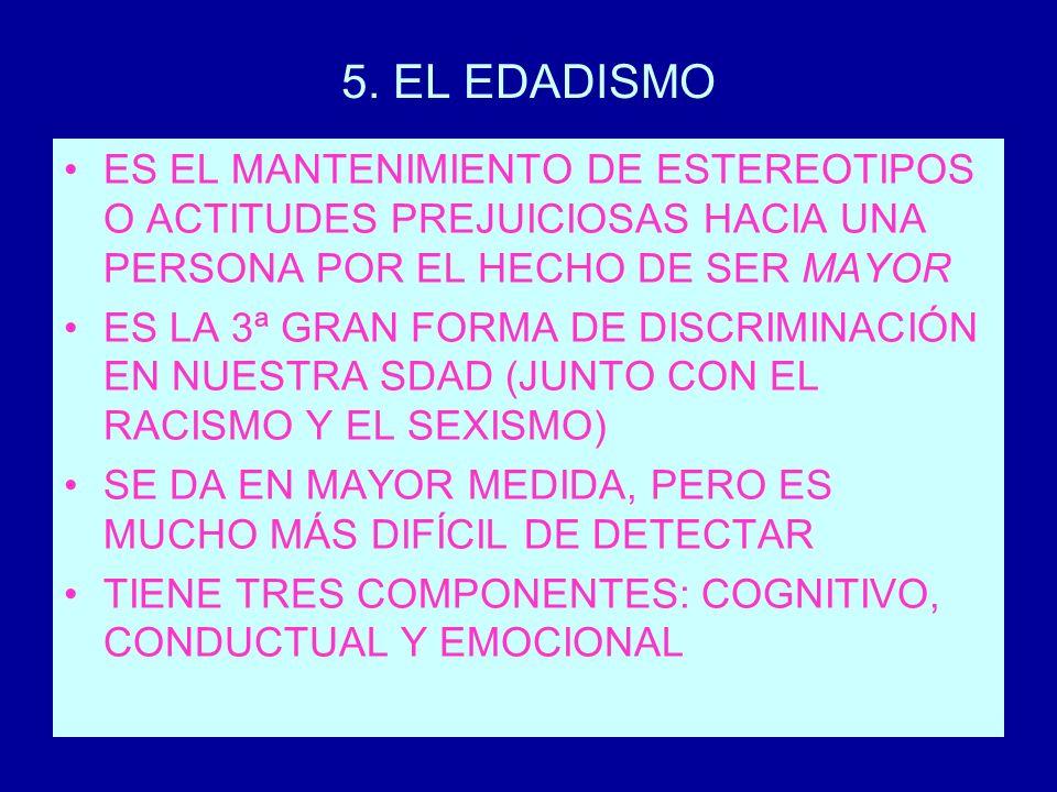 5. EL EDADISMO ES EL MANTENIMIENTO DE ESTEREOTIPOS O ACTITUDES PREJUICIOSAS HACIA UNA PERSONA POR EL HECHO DE SER MAYOR.