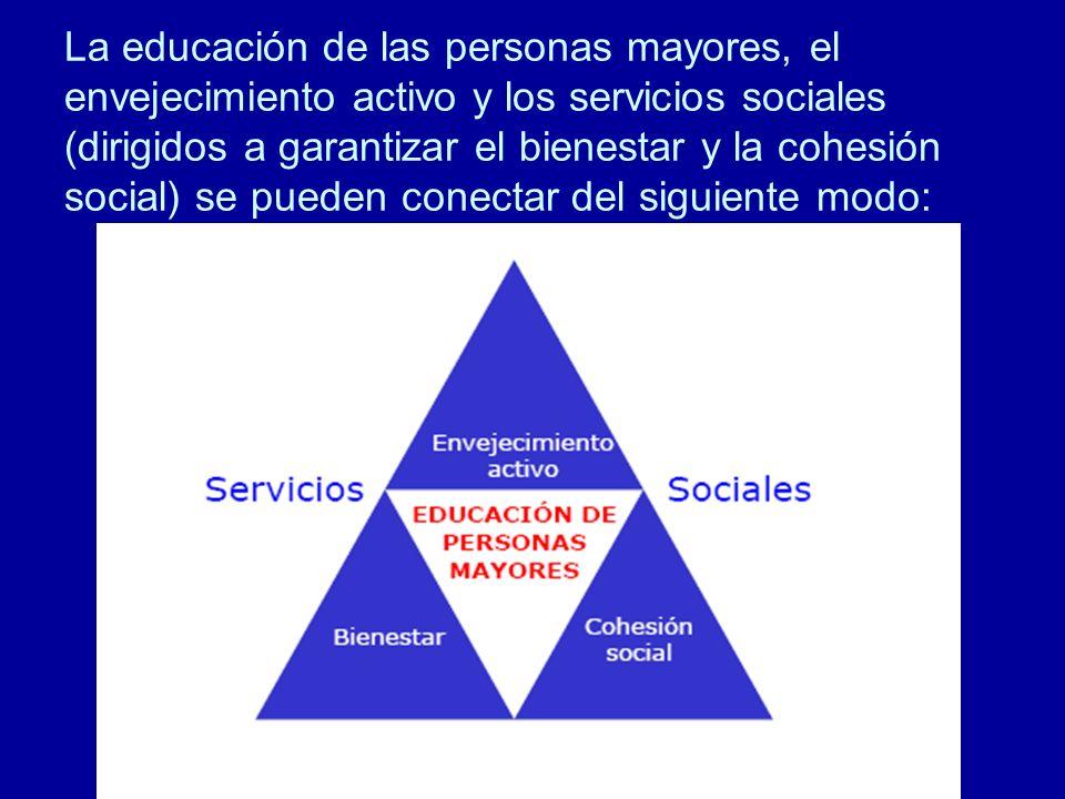 La educación de las personas mayores, el envejecimiento activo y los servicios sociales (dirigidos a garantizar el bienestar y la cohesión social) se pueden conectar del siguiente modo: