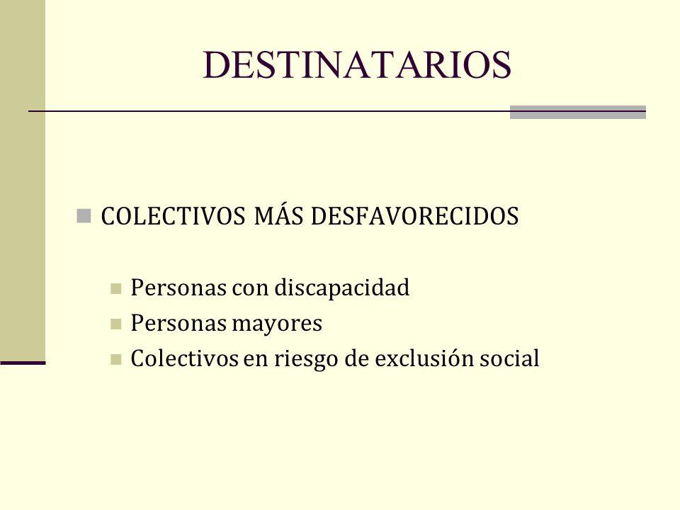 DESTINATARIOS COLECTIVOS MÁS DESFAVORECIDOS Personas con discapacidad