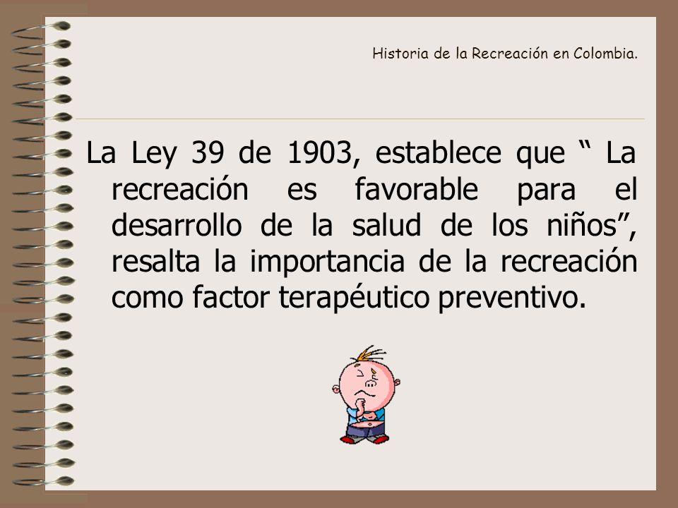 Historia de la Recreación en Colombia.