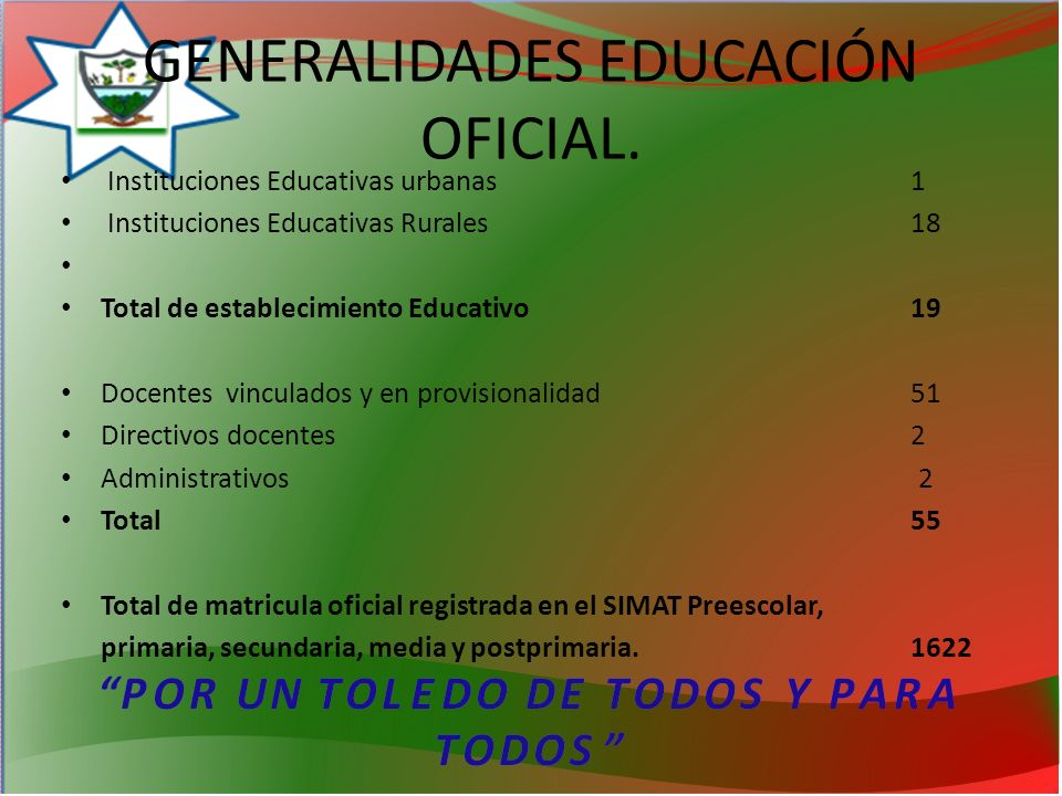 GENERALIDADES EDUCACIÓN OFICIAL.