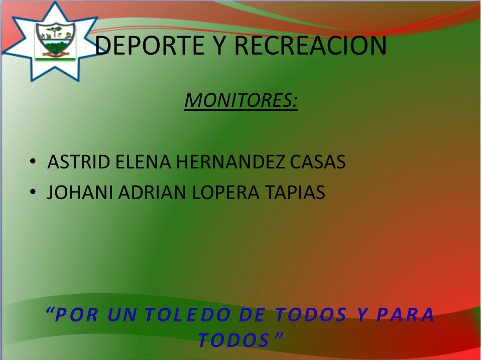 DEPORTE Y RECREACION MONITORES: ASTRID ELENA HERNANDEZ CASAS