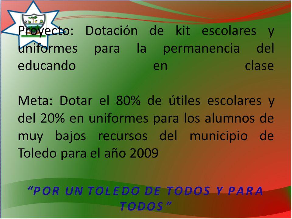 Proyecto: Dotación de kit escolares y uniformes para la permanencia del educando en clase Meta: Dotar el 80% de útiles escolares y del 20% en uniformes para los alumnos de muy bajos recursos del municipio de Toledo para el año 2009