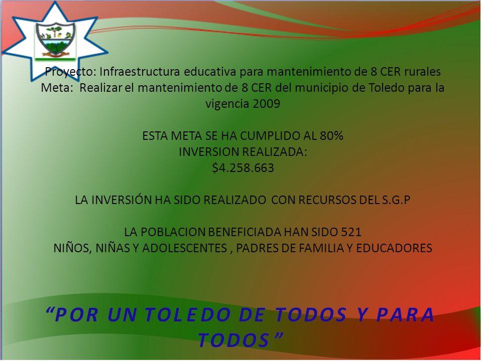 Proyecto: Infraestructura educativa para mantenimiento de 8 CER rurales Meta: Realizar el mantenimiento de 8 CER del municipio de Toledo para la vigencia 2009 ESTA META SE HA CUMPLIDO AL 80% INVERSION REALIZADA: $4.258.663 LA INVERSIÓN HA SIDO REALIZADO CON RECURSOS DEL S.G.P LA POBLACION BENEFICIADA HAN SIDO 521 NIÑOS, NIÑAS Y ADOLESCENTES , PADRES DE FAMILIA Y EDUCADORES