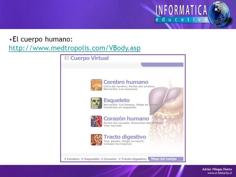 El cuerpo humano: http://www.medtropolis.com/VBody.asp