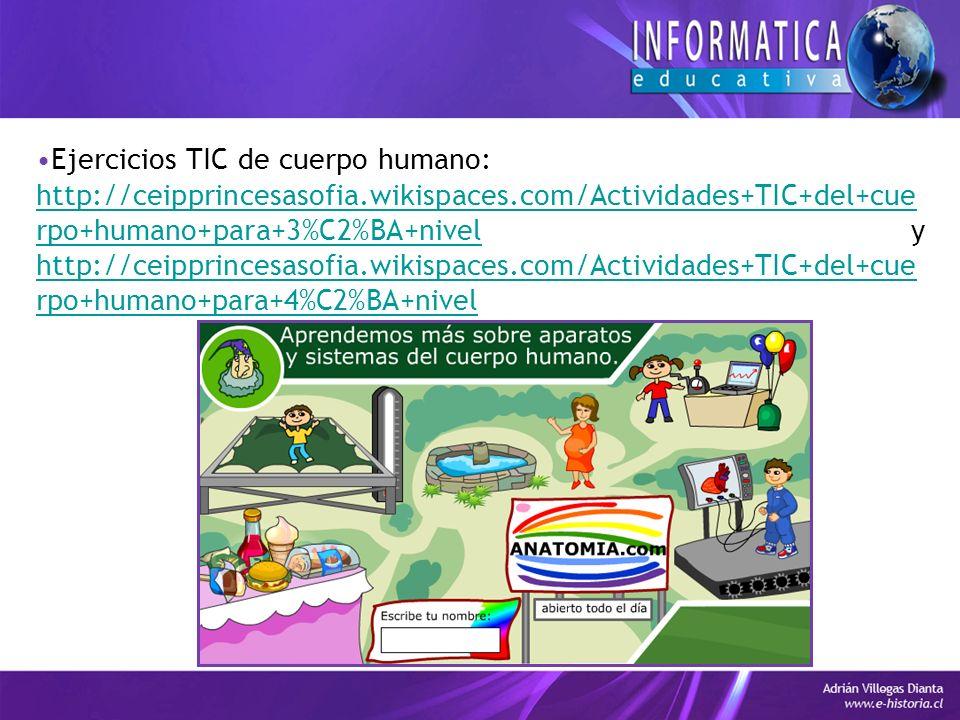 Ejercicios TIC de cuerpo humano: