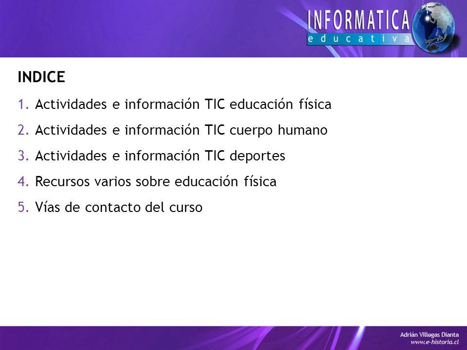 INDICE Actividades e información TIC educación física