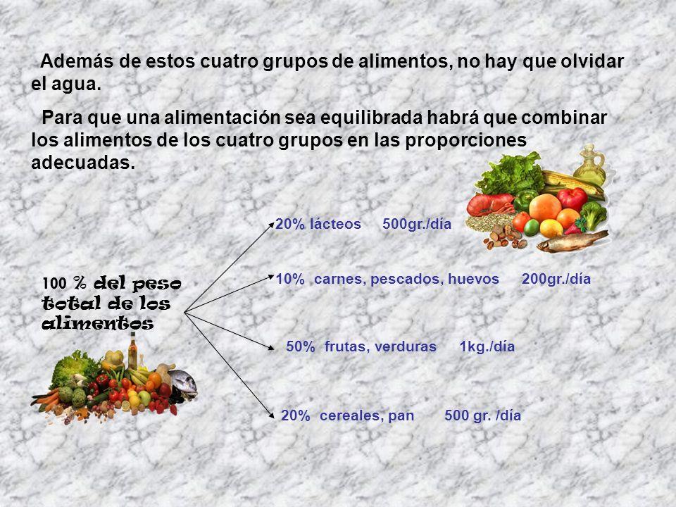 Además de estos cuatro grupos de alimentos, no hay que olvidar el agua.