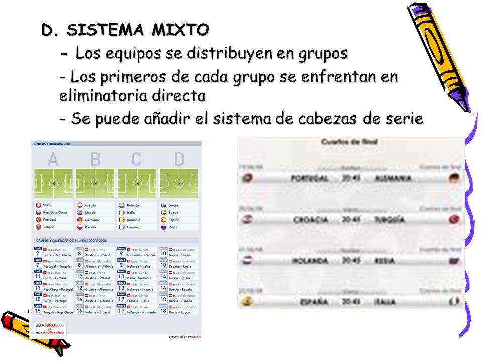 D. SISTEMA MIXTO - Los equipos se distribuyen en grupos. - Los primeros de cada grupo se enfrentan en eliminatoria directa.