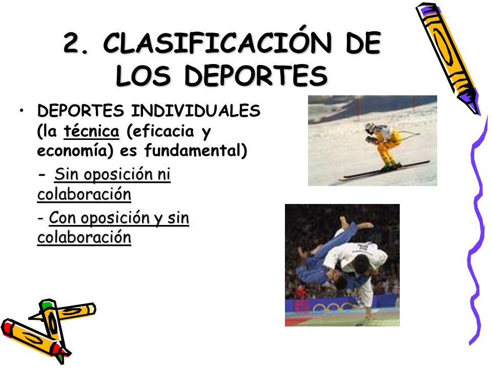 2. CLASIFICACIÓN DE LOS DEPORTES