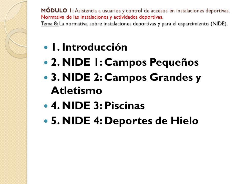3. NIDE 2: Campos Grandes y Atletismo 4. NIDE 3: Piscinas