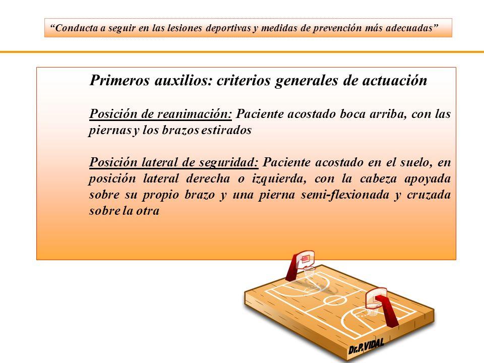 Primeros auxilios: criterios generales de actuación