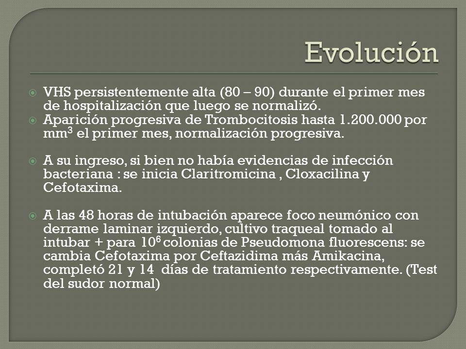 Evolución VHS persistentemente alta (80 – 90) durante el primer mes de hospitalización que luego se normalizó.
