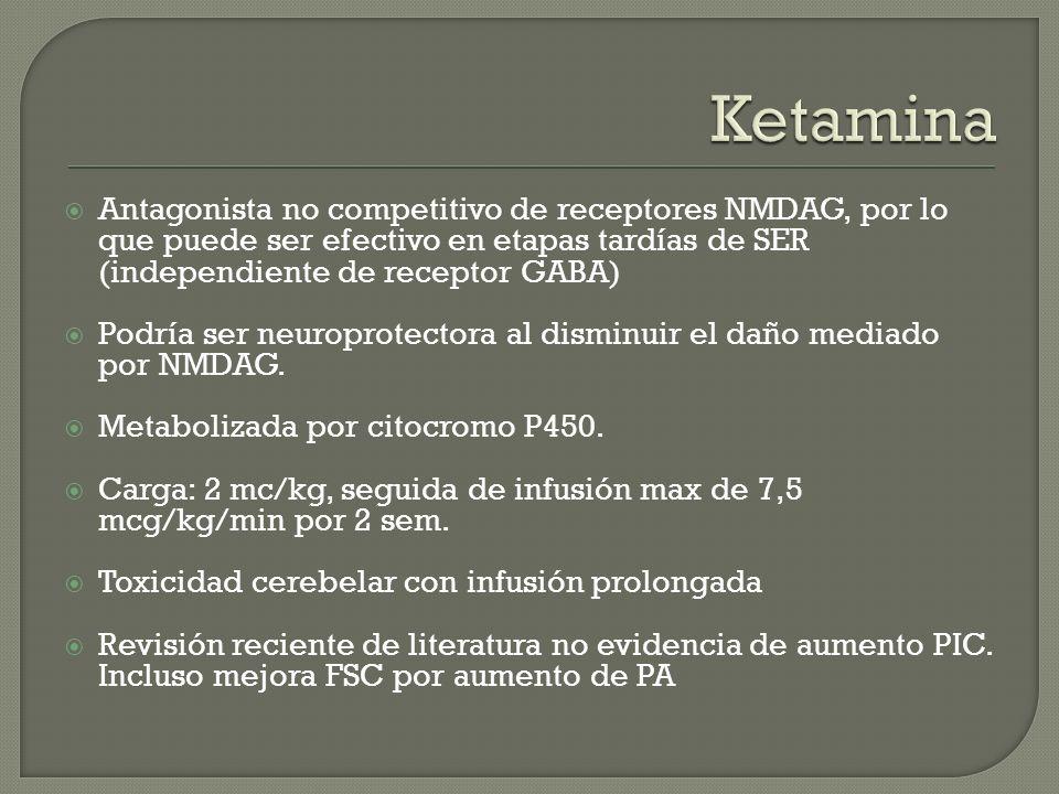 Ketamina Antagonista no competitivo de receptores NMDAG, por lo que puede ser efectivo en etapas tardías de SER (independiente de receptor GABA)