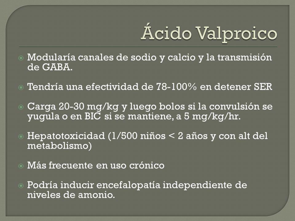 Ácido Valproico Modularía canales de sodio y calcio y la transmisión de GABA. Tendría una efectividad de 78-100% en detener SER.