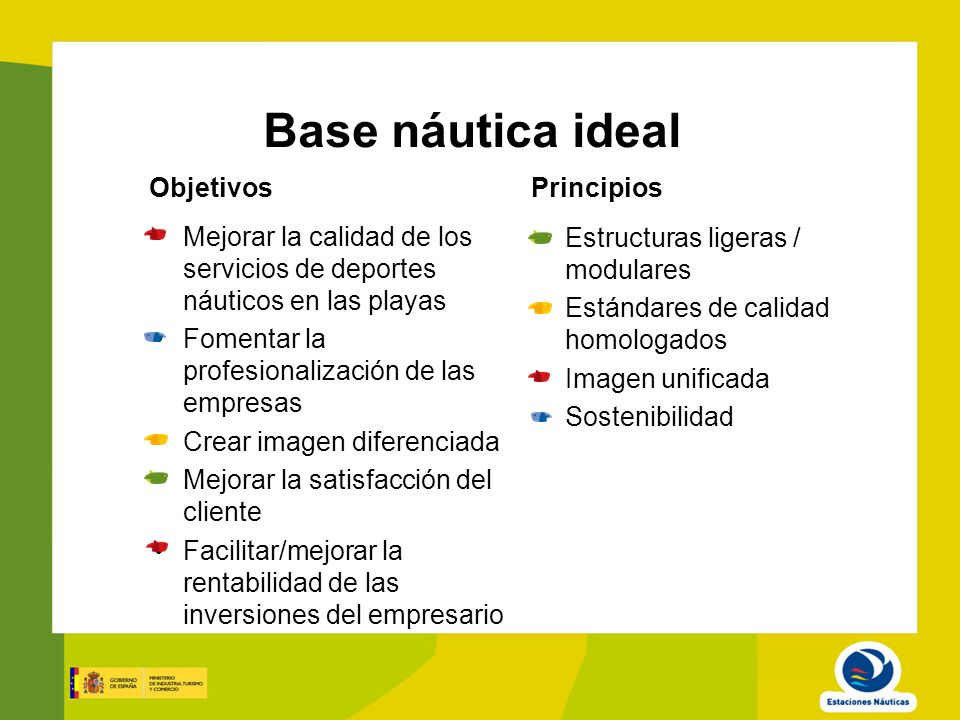 Base náutica ideal Objetivos Principios